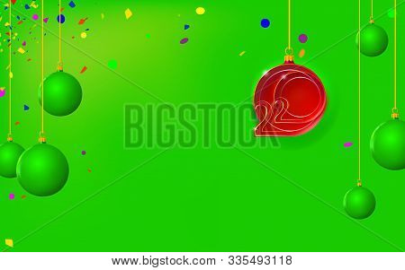 New Year Green Background With Christmas Red Ball, Bubble Inlaid With 2020 Thin Inscription. Happy D