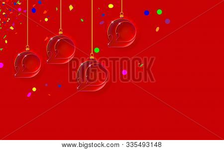 New Year Red Background With Christmas Balls. Bubbles Inlaid With 2020 Thin Inscription. Happy Desig