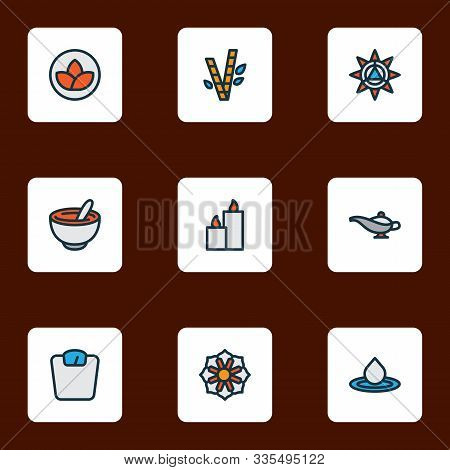 Meditation Icons Colored Line Set With Paraffin, Lotus, Healthy Food And Other Splash Elements. Isol