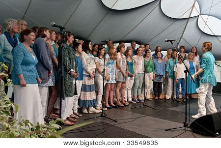 World Music Choir performing live on the Global Community Stage at the Exeter Respect Festival 2012