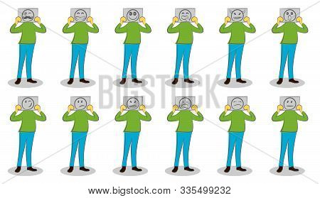 Man Holding Papers With Different Emotions