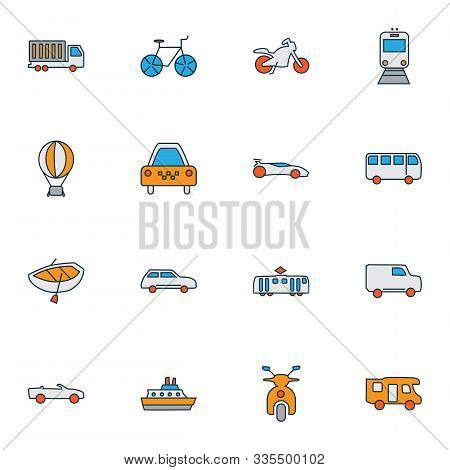 Vehicle Icons Colored Line Set With Air Balloon, Bus, Van And Other Streetcar Elements. Isolated Vec