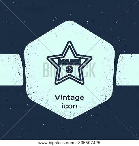 Grunge Line Hollywood Walk Of Fame Star On Celebrity Boulevard Icon Isolated On Blue Background. Hol