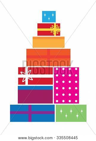 Vector Illustration Of Christmas Boxes. Colorful Christmas Background.