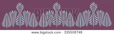 Graceful Pattern Of Monochrome Outlines Of Openwork Leaves - Graphic For A Card Or Frame, Banner