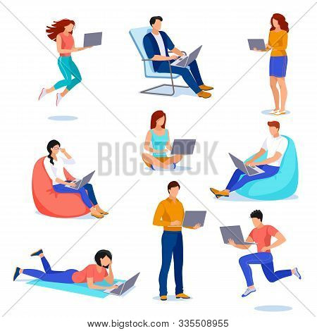 People With Laptops In Different Poses, Isolated On White Background. Vector Flat Cartoon Illustrati