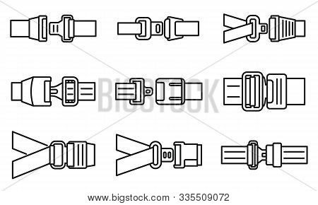 Car Seatbelt Icons Set. Outline Set Of Car Seatbelt Vector Icons For Web Design Isolated On White Ba