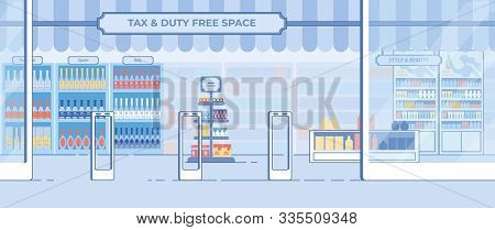 Modern Duty-free Shop Entrance And Showcase In Airport Terminal Flat Vector Background With Elite, E
