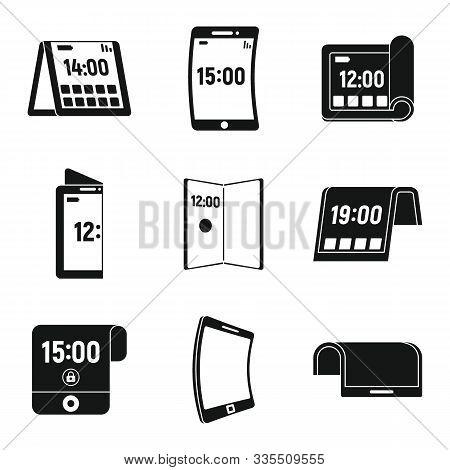 Phone Flexible Display Icons Set. Simple Set Of Phone Flexible Display Vector Icons For Web Design O
