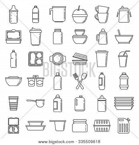 Modern Plastic Tableware Icons Set. Outline Set Of Modern Plastic Tableware Vector Icons For Web Des