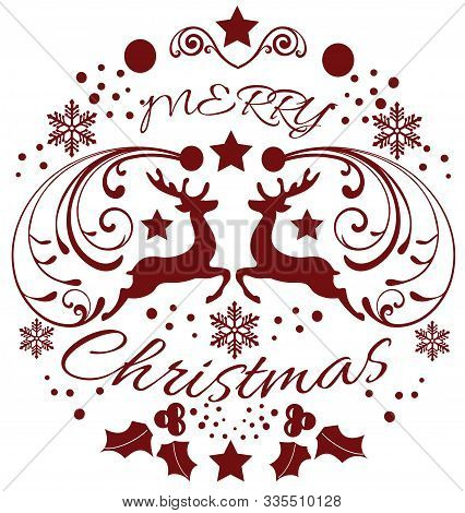Vector Illustration Of A Christmas Frame With Reindeer And Christmas Elements.