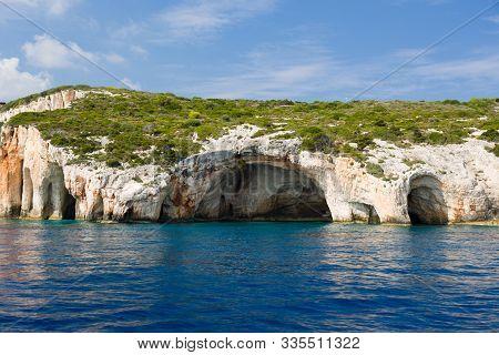 Famous Landmark, Tourist Attraction. Blue Caves In Zakynthos Island, Greece.