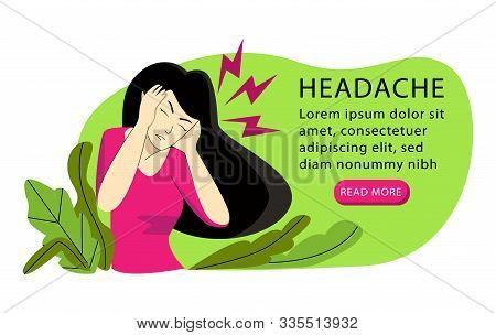 Vector Illustration With Woman Who Has Severe Headache On Both Sides.