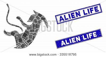 Mosaic Alien Embryo Icon And Rectangular Stamps. Flat Vector Alien Embryo Mosaic Icon Of Randomized
