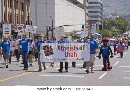 Salt Lake City, Utah - June 3: Atheists Of Utah Members Marching In The Pride Parade In Downtown On