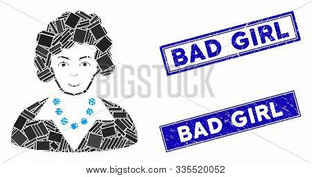 Mosaic Brunette Lady Icon And Rectangular Seal Stamps. Flat Vector Brunette Lady Mosaic Icon Of Rand