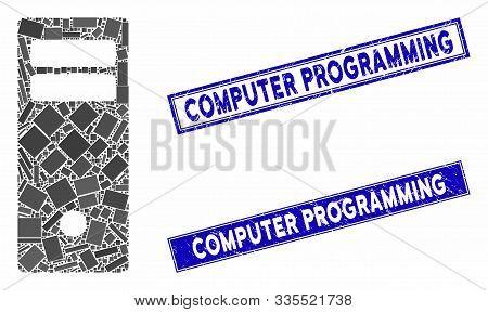 Mosaic Computer Mainframe Icon And Rectangular Seal Stamps. Flat Vector Computer Mainframe Mosaic Pi