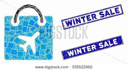 Mosaic Duty Free Shopping Icon And Rectangular Rubber Prints. Flat Vector Duty Free Shopping Mosaic