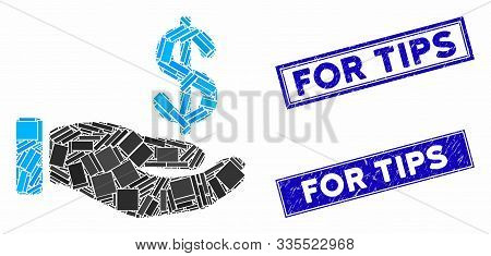 Mosaic Earnings Hand Pictogram And Rectangle Seal Stamps. Flat Vector Earnings Hand Mosaic Pictogram