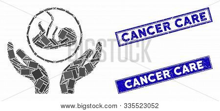 Mosaic Embryo Care Hands Pictogram And Rectangle Stamps. Flat Vector Embryo Care Hands Mosaic Icon O