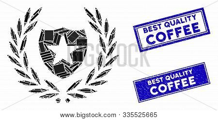 Mosaic Glory Shield Pictogram And Rectangular Rubber Prints. Flat Vector Glory Shield Mosaic Pictogr