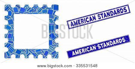 Mosaic Postage Stamp Pictogram And Rectangular Seal Stamps. Flat Vector Postage Stamp Mosaic Pictogr