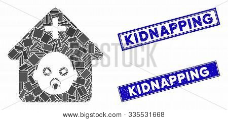 Mosaic Prenatal Hospital Icon And Rectangular Rubber Prints. Flat Vector Prenatal Hospital Mosaic Pi