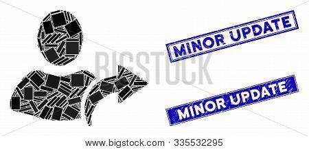 Mosaic Redo Pictogram And Rectangle Rubber Prints. Flat Vector Redo Mosaic Pictogram Of Randomized R
