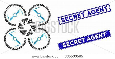 Mosaic Shutter Drone Pictogram And Rectangular Seals. Flat Vector Shutter Drone Mosaic Pictogram Of