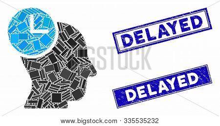 Mosaic Time Thinking Icon And Rectangular Seals. Flat Vector Time Thinking Mosaic Icon Of Scattered