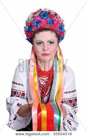Woman In National Ukrainian (russian) Costume. Portrait.