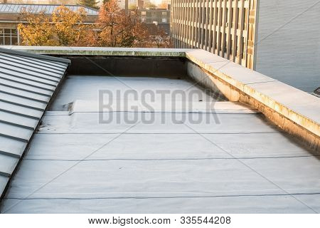 In A Big City There Is A Zinc Roof On A High Building