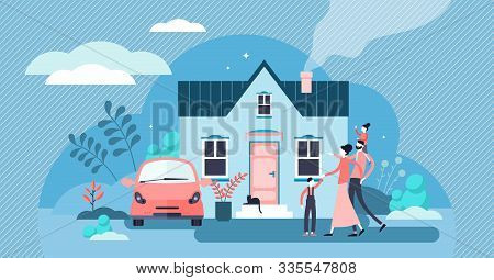 Family House Vector Illustration. Flat Tiny Modern Property Person Concept. Real Estate Exterior Wit