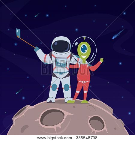 Astronaut And Alien Take Selfie. Friendship Between Spaceman And Alien Humanoid On Remote Space Plan