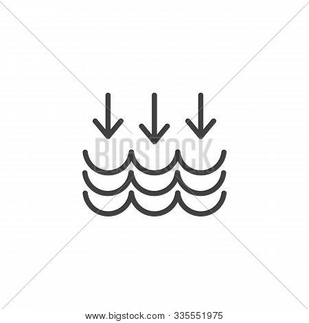 Water Cycle Line Icon. Linear Style Sign For Mobile Concept And Web Design. Water Waves And Arrows D