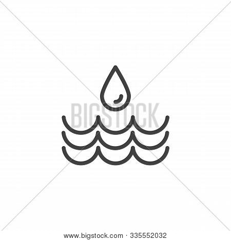 Water Drop And Waves Line Icon. Linear Style Sign For Mobile Concept And Web Design. Water Precipita