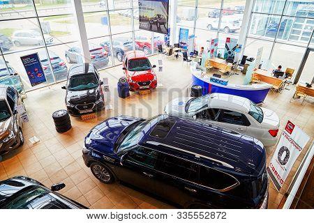Kirov, Russia - May 07, 2019: Cars In Showroom Of Dealership Datsun In Kirov. Top View