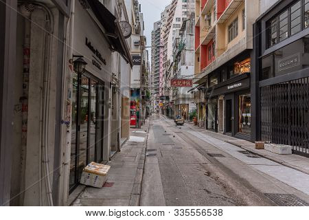Silence Hong Kong City Alley View With Quiet Road At Central District Low People And Tourist From Th