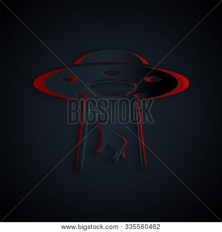 Paper Cut Ufo Abducts Cow Icon Isolated On Black Background. Flying Saucer. Alien Space Ship. Futuri