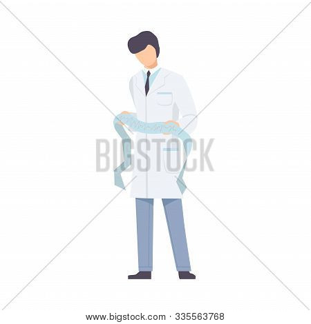 Male Doctor Cardiologist With List Of Examinating With Heart Curves Flat Vector Illustration