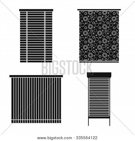 Curtain And Shutters Vector Black Icon Set.vector Isolated Illustration Curtain On Window.icon Set O