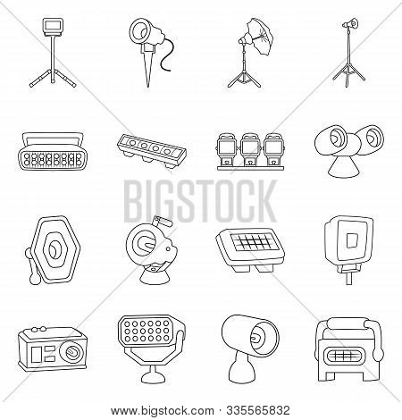 Electric Spotlight And Lamp Vector Line Icon. Set Illustration Of Floodlight And Light Equipment. Ve