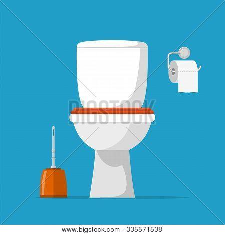 White Ceramics Toilet, Toilet Paper And Toilet Brush. Modern Toilet Set In Flat Style. Vector Illust