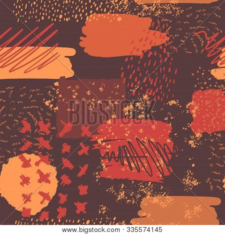 Vector Abstract Seamless Pattern With Hand Drawn Elements, Art Dots, Spots, Lines And Scrawled Lines