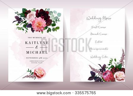 Luxury Fall Flowers Wedding Vector Bouquet Cards. Garden Rose, Burgundy Red Peony, Pink Protea, Cora