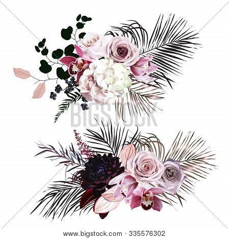 Black And Dusty Pink Flowers Glamour Vector Design Bouquets. Dusty Rose, Hydrangea, Pink Cymbidium O