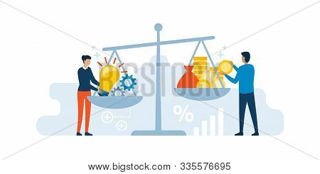 Woman Putting Her Creative Ideas On A Dish Of A Scale And Investor Adding Cash Money On The Other Di