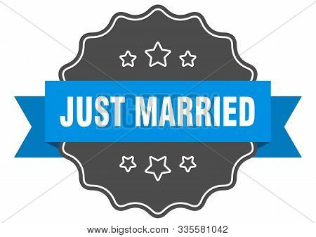 Just Married Blue Label. Just Married Isolated Seal. Just Married