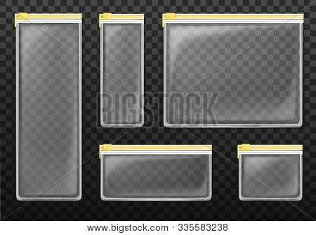 Clear Plastic Zipper Bags Isolated On Transparent Background. Vector Set Of Empty Translucent Pocket