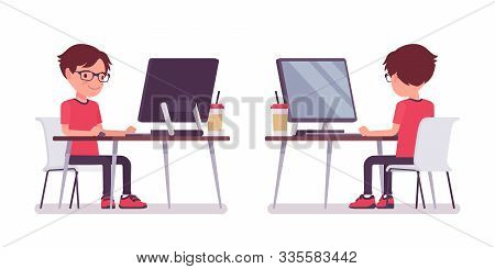 School Boy In Casual Wear Studying At Computer Monitor. Cute Small Guy In Glasses, Active Young Kid,